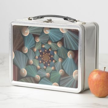 Modern Fractal Art With Depth, Brown, Slate, Blue Metal Lunch Box