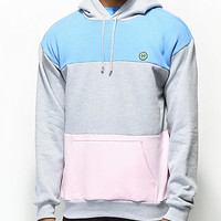 Cross Colours Grey, Blue & Pink Colorblock Hoodie | Zumiez