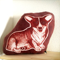 Corgi dog pillow hand printed with inkodye one of a kind ooak brick red sepia brown color