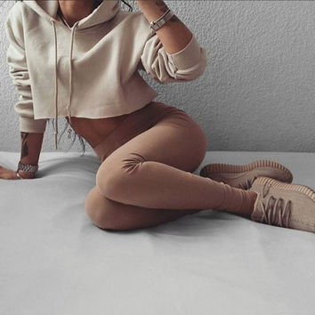 Autumn 2016 Women's Trending Popular Fashion 2016 Solid Crop Top Bare Midriff Casual Simple Hoodie Sweatshirt Shirt Top _ 8649