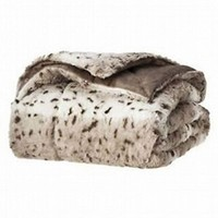 Threshold Faux Fur Gray Brown Leopard Spot Throw Blanket So Soft Plush