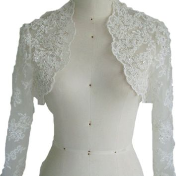 In Stock Wedding Accessory Satin and LACE Appliques Custom Made Long Sleeve Bridal Wedding Bolero Jacket Shrug Wraps WJ16
