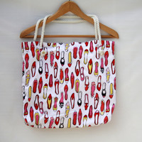 Shoe Collection Themed Tote Bag - Upcycle - OOAK - Free Shipping