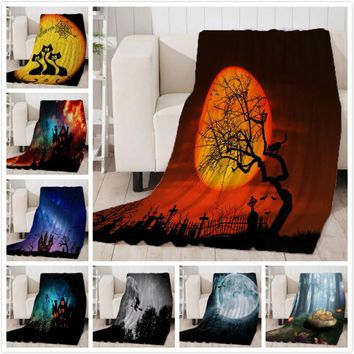 Thicking Blanket for Bed Super Soft Skull Forest Moon Halloween Throw Blanket Art Beach Towel Throw Travel Machine Washable
