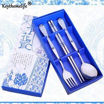 Keythemelife Dinnerware Set Cutlery Stainless Steel 3 in1 Travel 5 Color Chinese gift for world blue-white Tableware CA