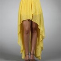 Yellow Hi Low Hem Wrap Skirt