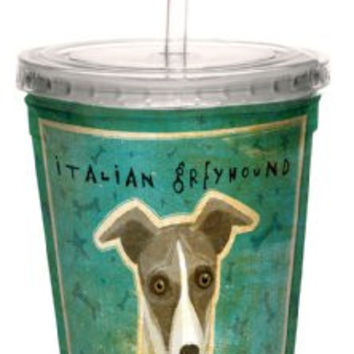 Tree-Free Greetings cc34076 White and Grey Italian Greyhound by John W. Golden Artful Traveler Double-Walled Cool Cup with Reusable Straw, 16-Ounce