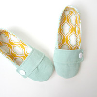 Women's Slippers - Aqua Corduroy and Tangerine Cotton Handmade House Slippers // Sizes 5-11
