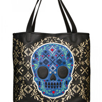 """""""Skull Detail"""" Tote by Loungefly (Black/Gold)"""