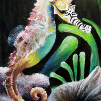 Rainbow Seahorse - Original Oil Painting by Lindsey - Underwater - Colorful Seahorse - Zebra Seahorse