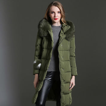 European Items Down Jackets Women Long Sleeve Fox Fur Collar Hot Sale Army Green / Black 2017 Winter Warm Long Down Jacket