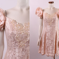 Vintage 80s 90s - Peachy Pink - Satin Puffy Ruffle Off Shoulder - Floral Lace Sequins Beaded - Short Formal Party Prom Dress