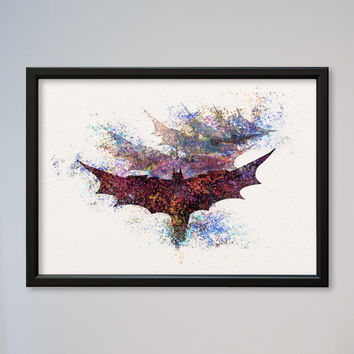 Arkham Knight Watercolor Print Batman Poster Fine Art Giclee Print Poster Dark Knight Gotham Knight DC Comics Batsuit Batwings