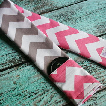 Reversible Camera Strap Cover with Lens Cap Pocket - Riley Blake Pink and Gray Chevron - Designer Fabric- MADE TO ORDER