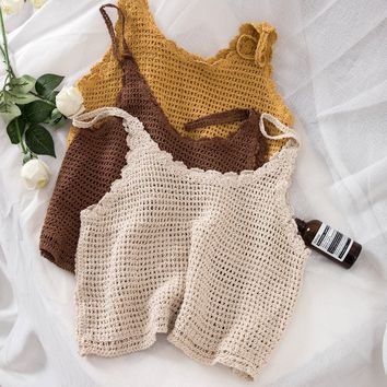 Summer Korean Women Knitting Camisole Hollow Out V-neck Short Vest Female Sexy Casual Yellow White Brown Tank Tops
