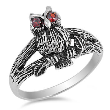 925 Sterling Silver Wisdom Owl Ring 15MM