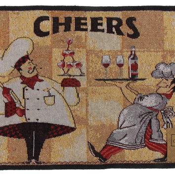 Cheers Chef Set 4 Placemats 13x19 Wine Servers Fabric Tapestry Wine Bottle Glass
