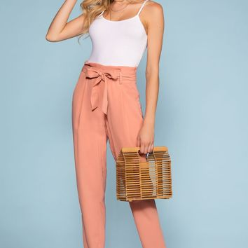 Christine High Waisted Tie Front Pants - Blush
