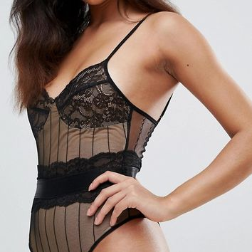 PrettyLittleThing Lace Bodysuit at asos.com