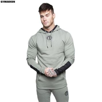 Autumn high quality men's long sleeve hooded pullover gyms Sweatshirt