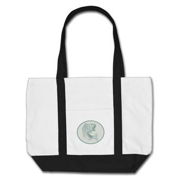 Largemouth Bass Fish Oval Etching Tote Bag
