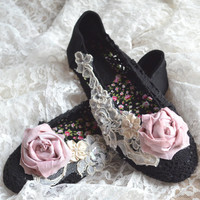 Crochet flats, Black fall embellished lace shoes, Shabby cottage chic rose flats, Romantic autumn slip on shoes, Boho , True rebel clotihing