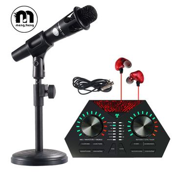 MS E300 Handhold wired Microphone Kits for Computer/Mobile Phone Recording+3.5 XLR Interface Cable+Stand+Sound Card+Earphone