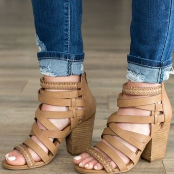 Not Rated Feeling Strappy Heel- Tan