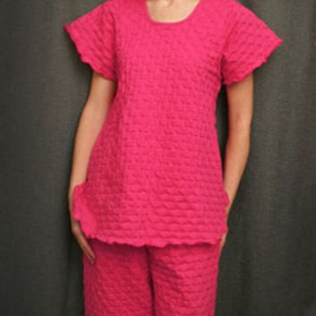 Hot Pink Short Sleeve Top & Palazzos Cotton Waffle, Made In The USA   Simple Pleasures, Inc.