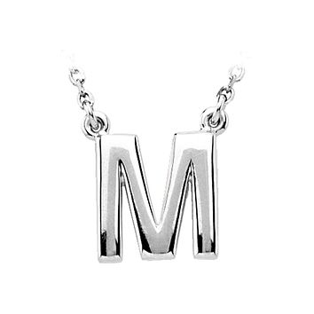 14K White Gold, Kendall Collection, Block Initial M Necklace, 16 Inch