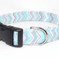 Chevron Dog Collar Light Blue Grey white