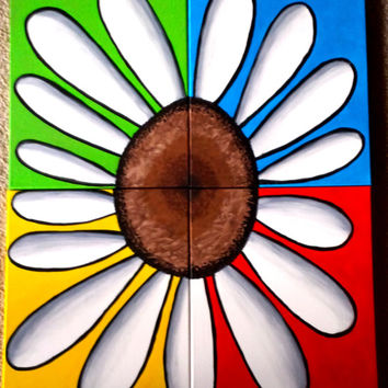 """Daisy Flower Original Acrylic Painting 40"""" X 32"""" FREE SHIPPING 4 set Canvas Wall Decor Abstract art blue green red yellow gray white black"""