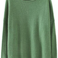 Green Boat Neck Knitted Sweater