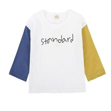 Fashion Spring Tops for Little Girls Clothes with Long Sleeves Letter T-shirts Boys Cotton T-shirts Children Tees