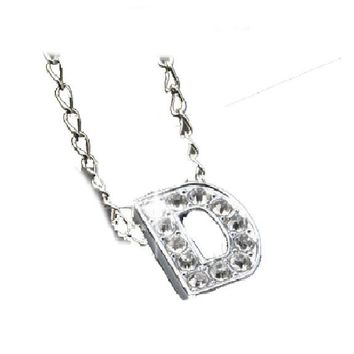 Letter D Crystal Pendant Necklace For Women