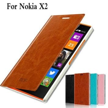 Phone Case Cover For Nokia X2 X2 Dual Sim Rm 1013 Cell Phone Case For Nokia X2ds Luxury Flip Leather Case Cover For Nokia X2