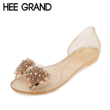 HEE GRAND Women Sandals Summer Bling Bowtie Fashion Peep Toe Jelly Shoes Sandal Flat Shoes Woman 2 Colors Size 36-40 XWZ722
