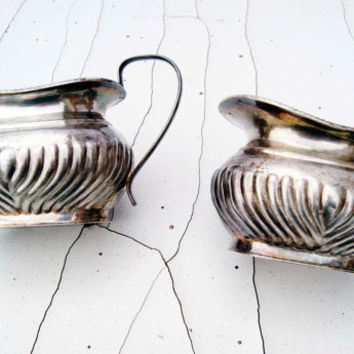 Antique Silver plated Roberts&Dore Ltd Sheffield, London Sugar Bowl and Creamer