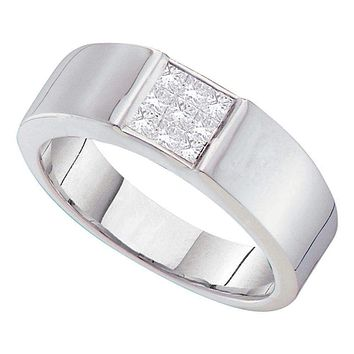 14kt White Gold Men's Princess Diamond Cluster Wedding Anniversary Band Ring 1/2 Cttw - FREE Shipping (US/CAN)