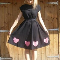 Customised Black Dress with Red Love Hearts | ReddyRoad | ASOS Marketplace