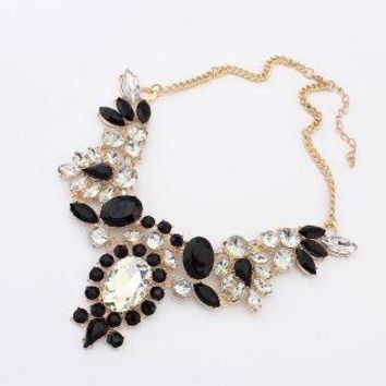 Moon Candy Flower Drop Gold Plated Collar Statement Necklace