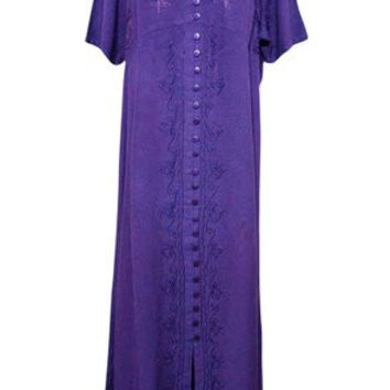 BOHEMIAN Maxi Dresses Women's Embroidered Stonewashed Rayon Purple Sundress