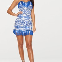 Cobalt Broderie Anglaise Tassel Trim Bodycon Dress