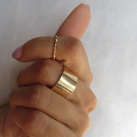 Silver or Gold Midi Ring Set - Wide and Thin Bands