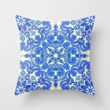 Blue China Porcelain Cushion Cover