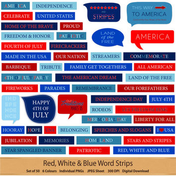 Red White And Blue Word & Speech Bubble Set Independence Day Patriotic America Fourth of July 4th Digital Scrapbook Clipart Element Word Tag