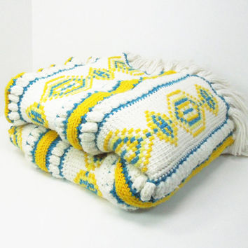 "Vintage yellow teal off-white crochet / knitted afghan throw blanket with geometric shapes 57"" x 52"""