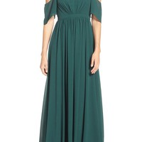 Lulu's Off the Shoulder Gathered Chiffon Gown | Nordstrom