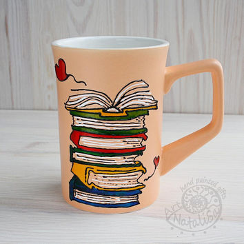 Hand painted coffee mug for book lovers, bookworm gift, All I need are books and coffee, orange big mug, autumn fall gift for reader teacher