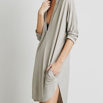 Grey Deep V Neck Long Sleeve Midi Shift Dress